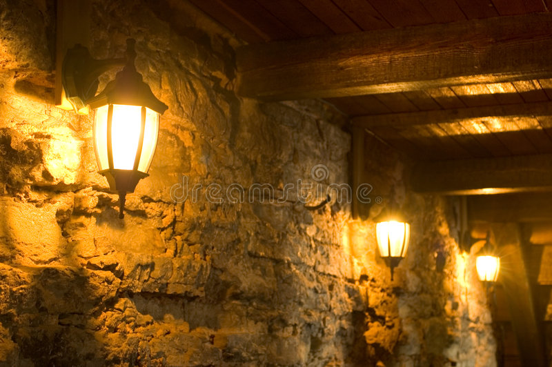 Old Lamps On Ancient Wall Royalty Free Stock Photography