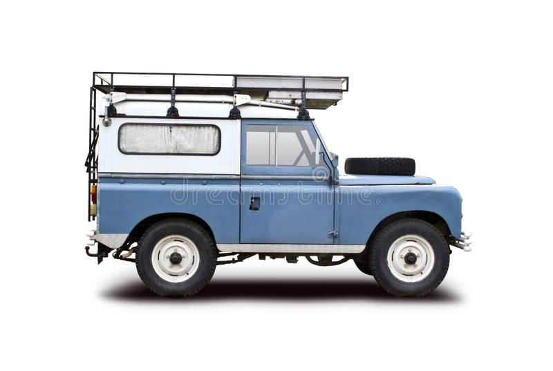 Old Land Rover. Isolated on white stock images