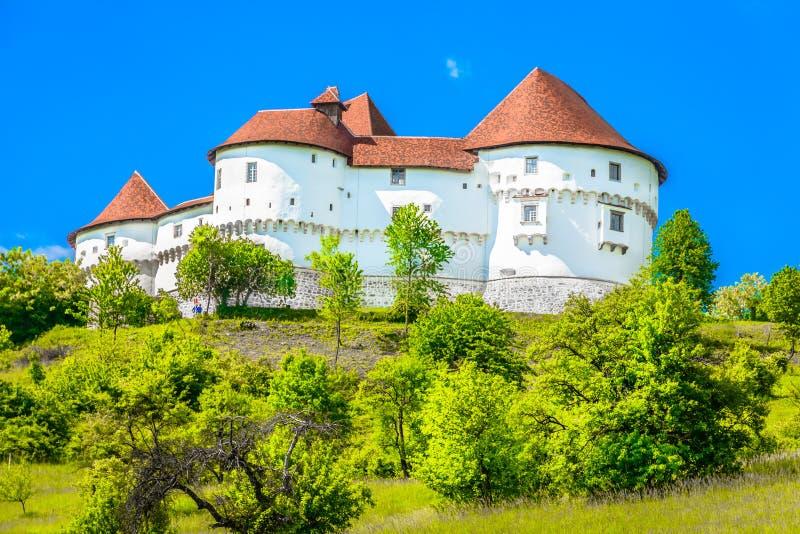 Old landmark in Zagorje region, Northern Croatia. Scenic view at medieval castle in Zagorje region, Veliki Tabor landmark stock photos