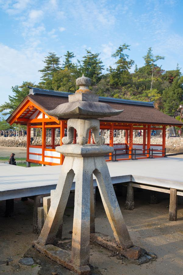 Old lantern at  Itsukushima Shrine at Miyajima island. Hiroshima, Japan royalty free stock images