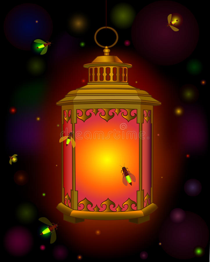 Free Old Lantern . Orange Light In Dark. Ramadan. Beetles Fireflies. Stock Photos - 60422193