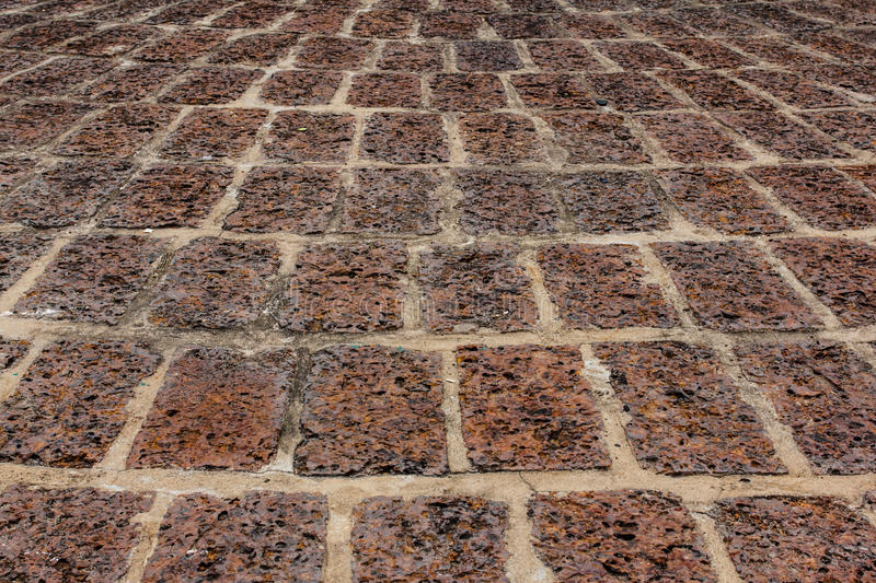 Old laterite ground ,Tiled Pavement. Picture of old laterite ground ,Tiled Pavement stock photography