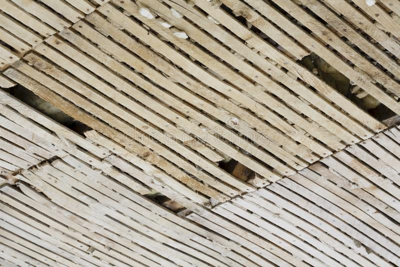 Old lath and plaster ceiling. Undergoing refurbishment stock photo