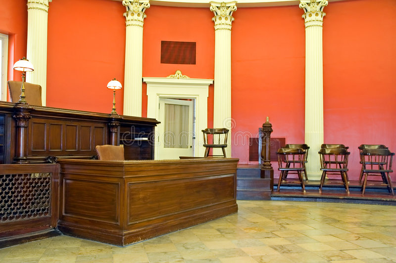 Old law courtroom. A view of an old law courtroom restored as it looked in the last of the 1800s during the Victorian Era. This courtroom is in the historic Old stock images