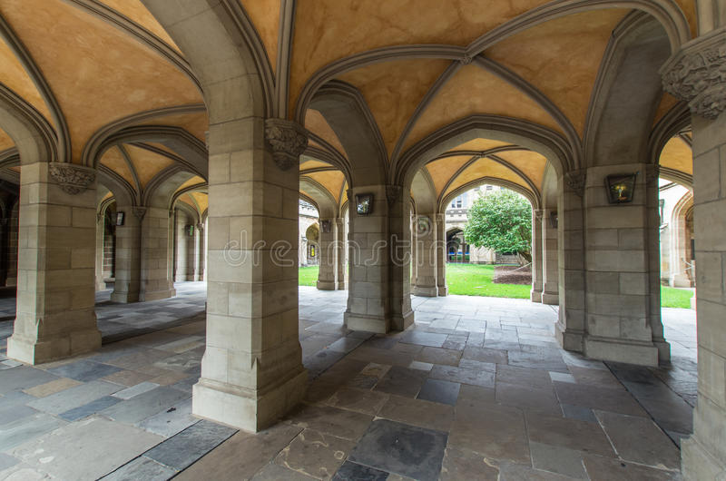 Old law quadrangle at the University of Melbourne, Australia. Old sandstone buildings with elegant arches make up the old law quadrangle at the University of royalty free stock photography