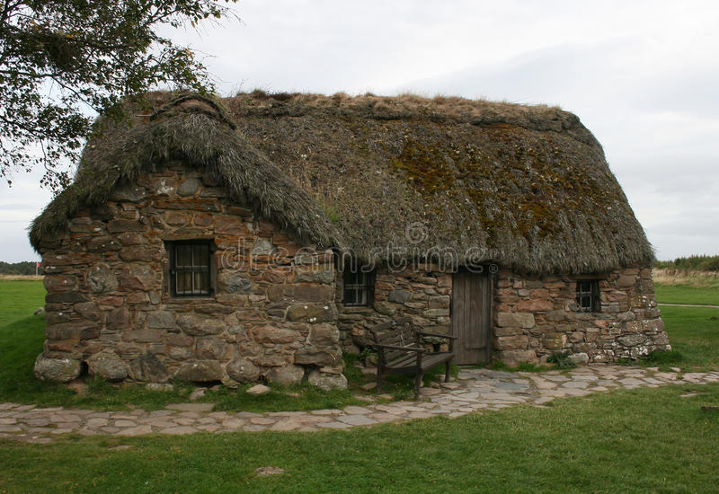 Old Leanach Cottage on Culloden Moor near Inverness royalty free stock images
