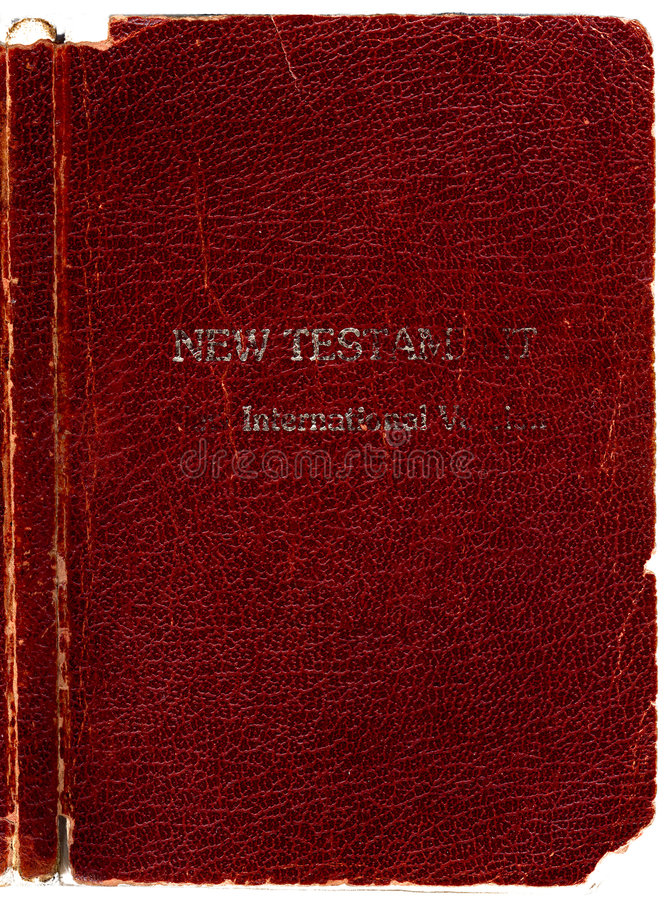 Old Leather Bible cover. Old Rugged leather Bible book cover- New Testament with Spine. Hi-res scanned & optimised royalty free stock photo