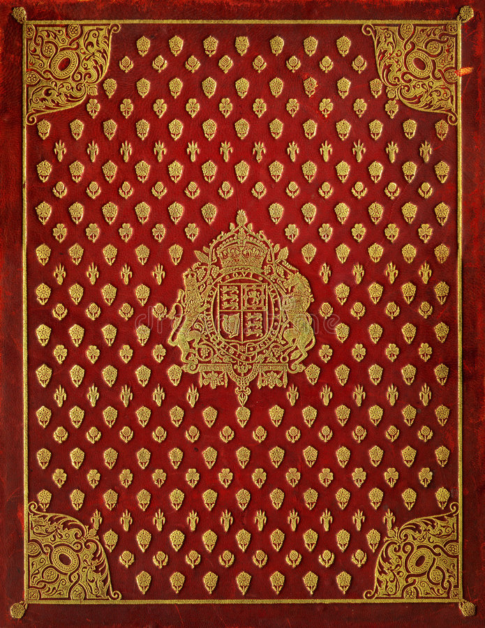 Book Cover With Pictures : Old leather book cover with royal symbols stock