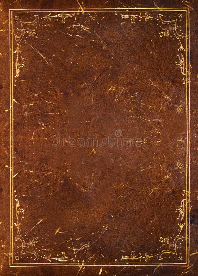 Old leather with golden  decoration