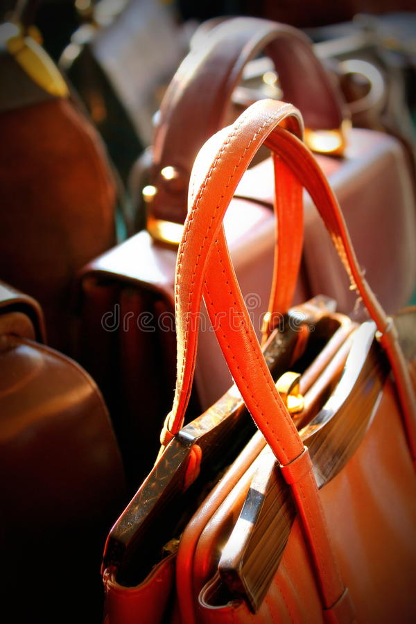 Old leather handbags women royalty free stock photos