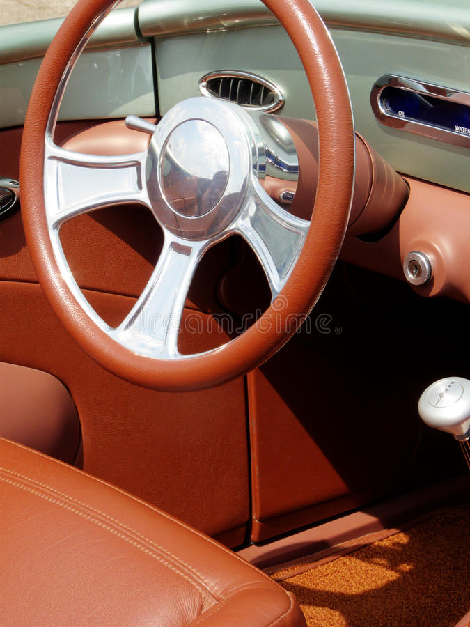 Old Leather. Interior of restored antique 1930 vintage roadster stock photo