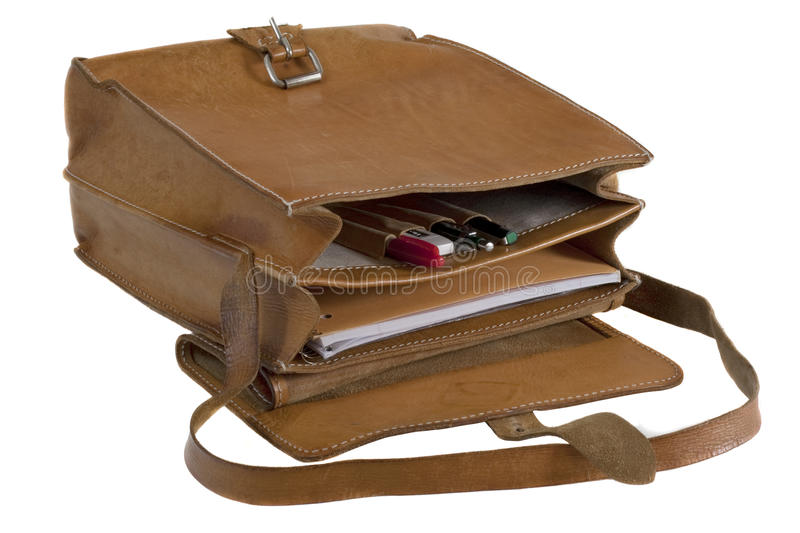 Old leather school bag royalty free stock photo