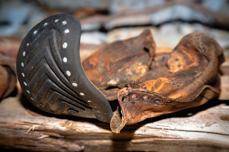 The old leather shoe royalty free stock image
