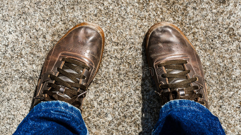Old leather shoes royalty free stock images