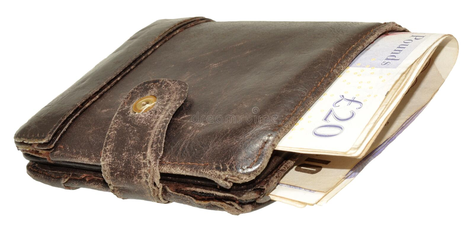 Old Leather Wallet And Bank Notes. An old worn out leather wallet and English bank notes, isolated on a white background royalty free stock photo