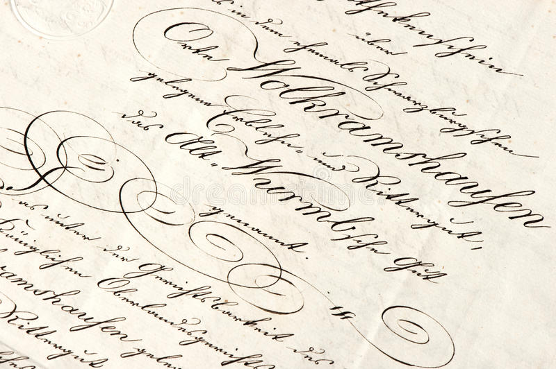 Old letter with calligraphic handwritten text. Grunge vintage background stock photos