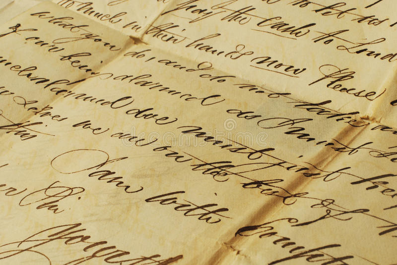 Old letter, elegant handwriting royalty free stock image