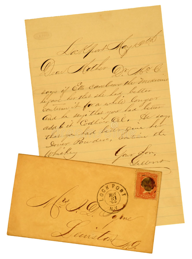 Old Letter and Envelope of 1865. Handwritten original letter and envelope with 3 cent George Washington stamp stock photography