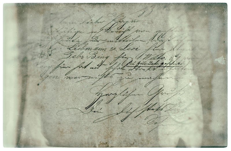 Old letter with handwritten text. grunge paper background stock photo