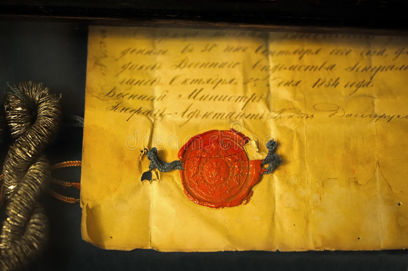 Old letter with stamp. On it royalty free stock image