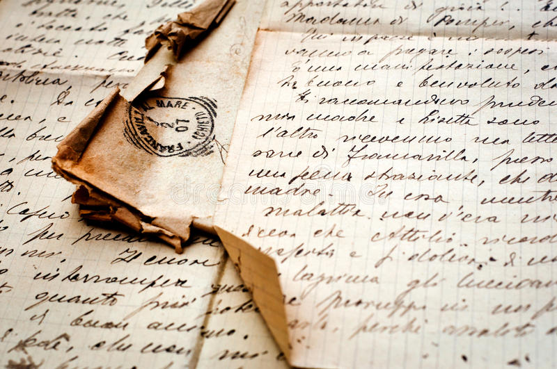 Old letter with stamp on old paper. Old paper. old letter handwritten with stamp. vintage background royalty free stock images