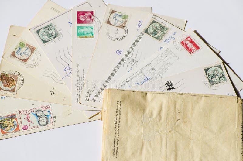 Old letters, french post cards. nostalgic vintage. Background stock image