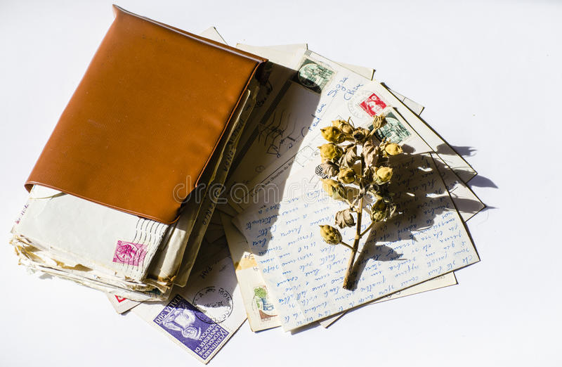 Old letters, french post cards. nostalgic vintage. Background royalty free stock image