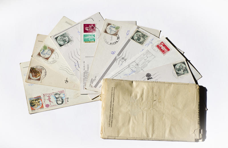 Old letters, french post cards. nostalgic vintage. Background stock photography