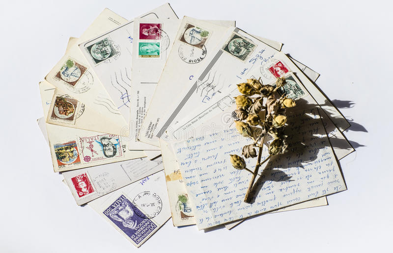 Old letters, french post cards. nostalgic vintage. Background stock photos