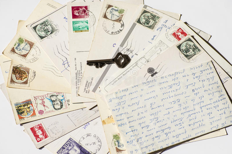 Old letters, french post cards. nostalgic vintage. Background royalty free stock photography