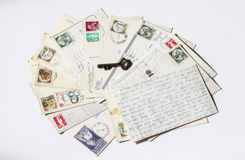 Old letters, french post cards. nostalgic vintage. Background stock photo