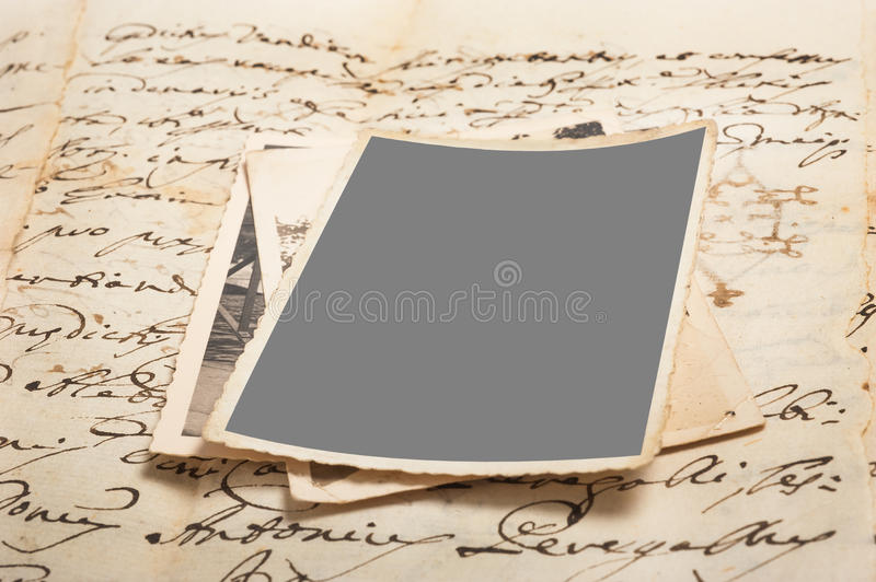 Old letters with pictures stock photos