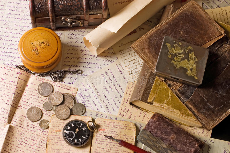 Download Old Letters With Various Things Stock Photo - Image: 19860850