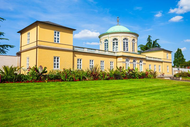 Old library building in Hanover. Old library building in the herrenhausen district of Hanover city in Germany stock images