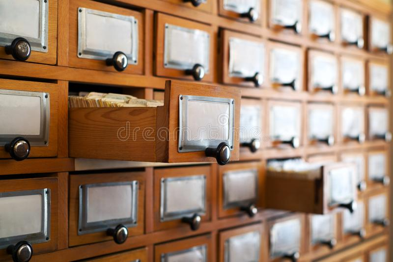 Old library catalog stock images