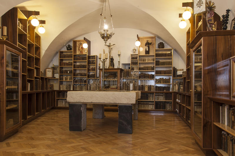 Old library in church. Old books in a museum library royalty free stock images