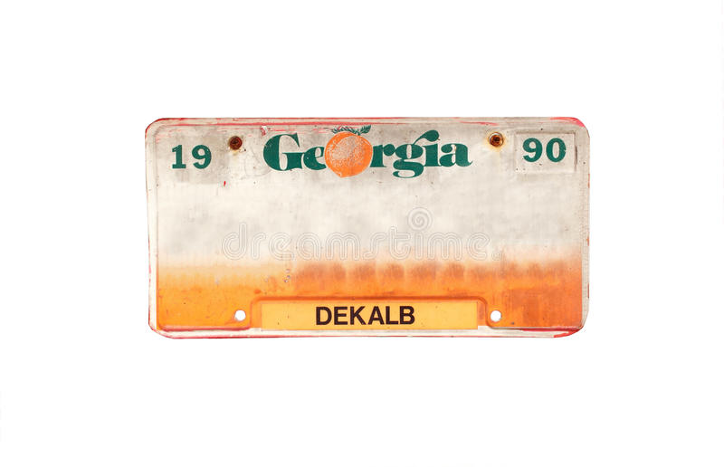 Old license plate. Of Dekalb, Georgia, America on isolated white background stock photo