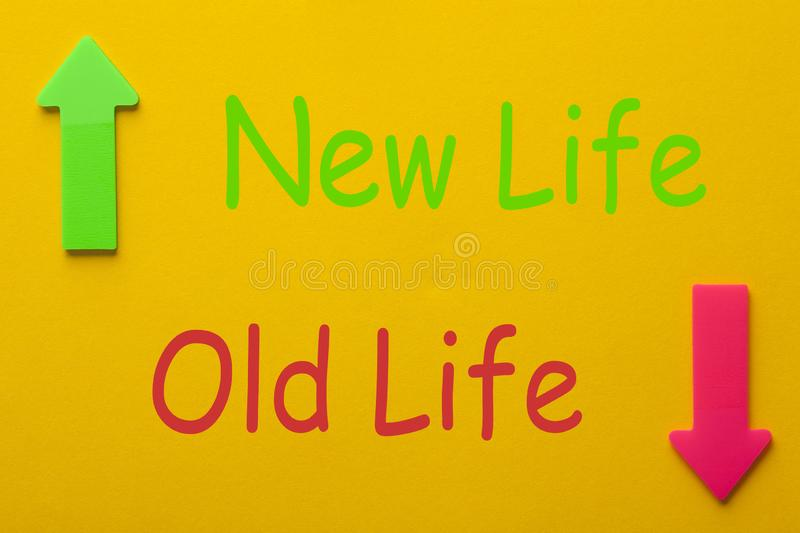 Old Life New Life Change. Old Life and New Life. New life concept, dieting, healthy lifestyle and new year resolution royalty free stock photography