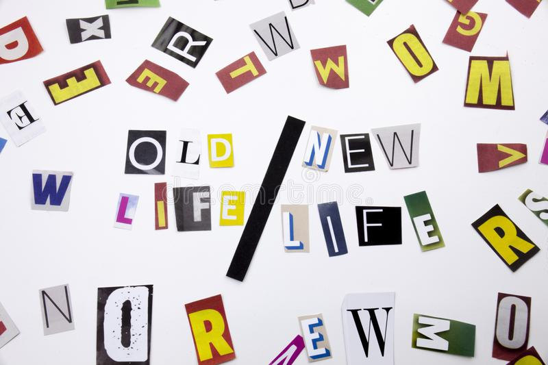 A word writing text showing concept of Old Life New Life made of different magazine newspaper letter for Business case on the whit. Old Life New Life made of royalty free stock photos