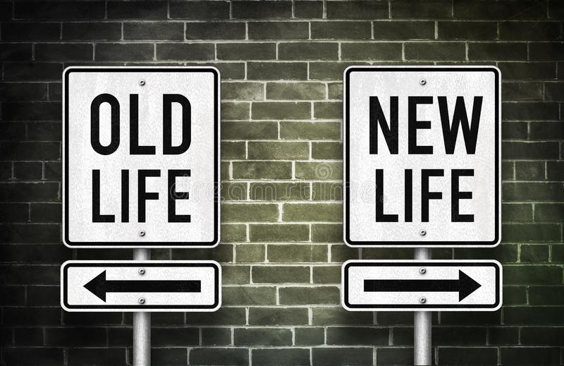 Old life versus new life. Road sign stock photo