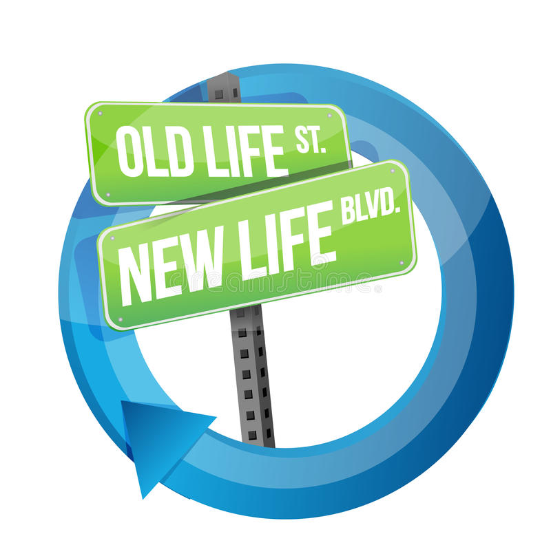 Old life versus new life road sign cycle. Illustration design over white stock illustration