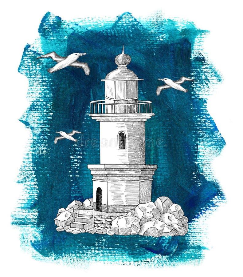 Old light house on blue background stock illustration