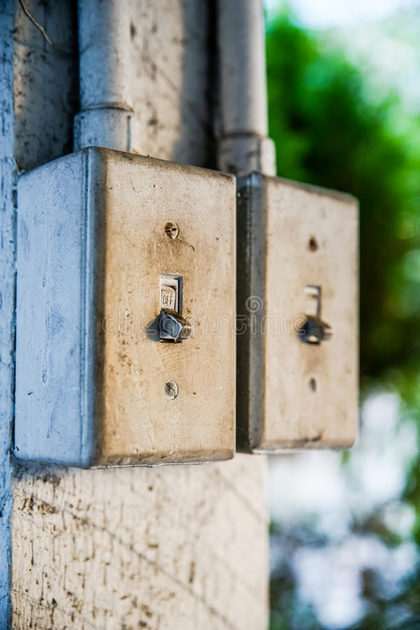 Old light switch. In the off position stock photography