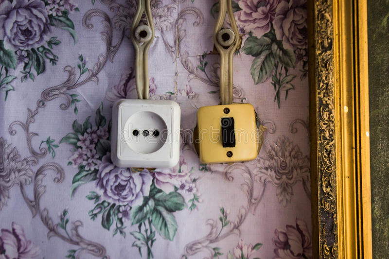 An Old Light Switch And A Power Socket Stock Photo Image of wall