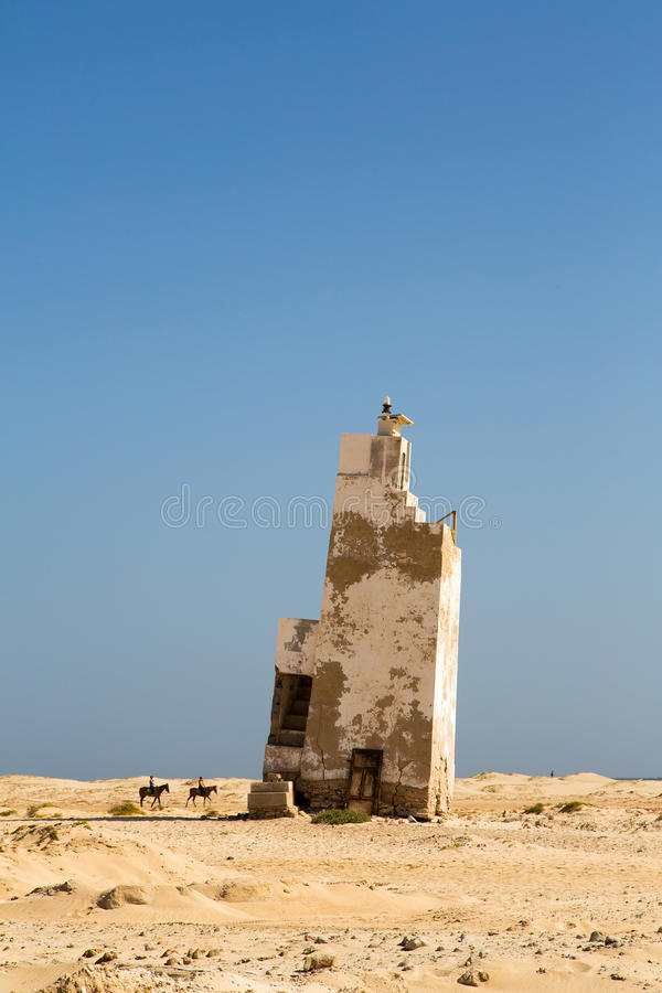 Old lighthouse, Cape Verde. Old lighthouse, Sal island, Cape Verde stock photos
