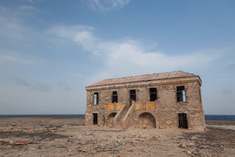 Old Lighthouse carribean beach. Bonaire island royalty free stock photos