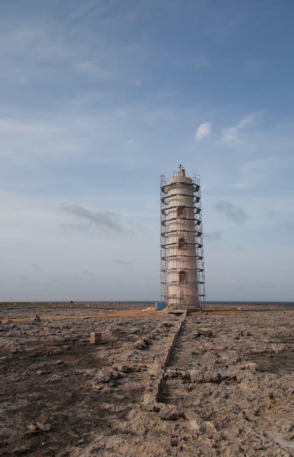 Old Lighthouse carribean beach. Bonaire island royalty free stock image