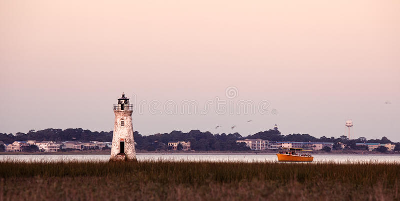 Old lighthouse at the Cockspur island royalty free stock photography