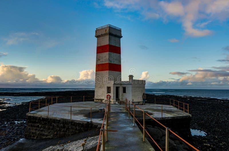 The old lighthouse of Gardur at the southwest coast of Iceland royalty free stock image