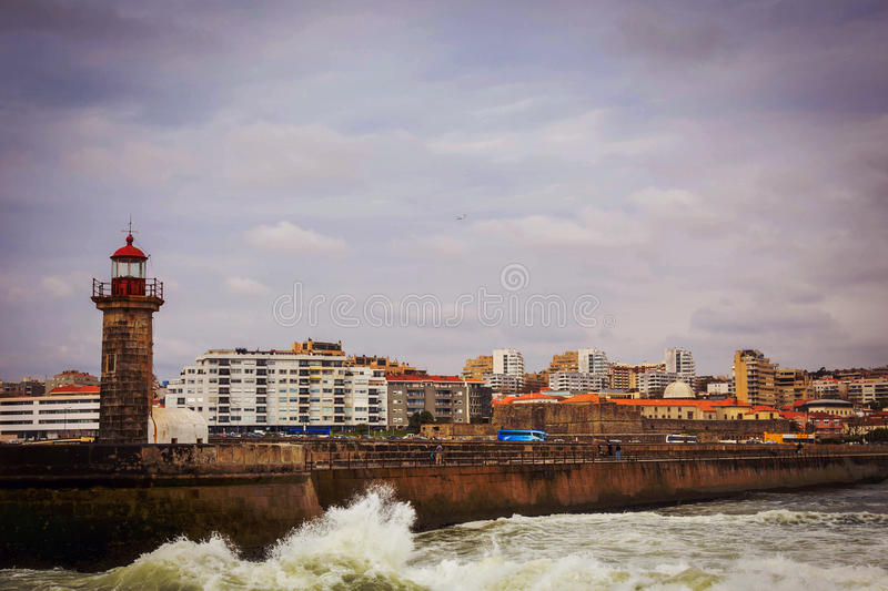 Download Old Lighthouse At The Mouth Of Douro River, Porto Stock Photo - Image: 83723624